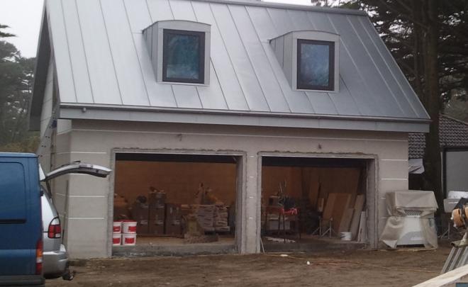 Zinc roofed garage